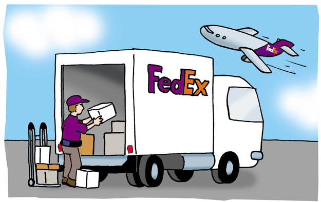 fed ex delivery comic cartoon