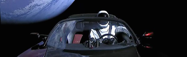 hot wheels tesla in space